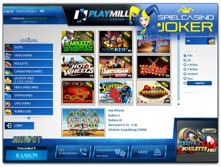 PlayMillion Casino Lobby von SkillOnNet