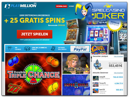 PlayMillion Casino Webseite